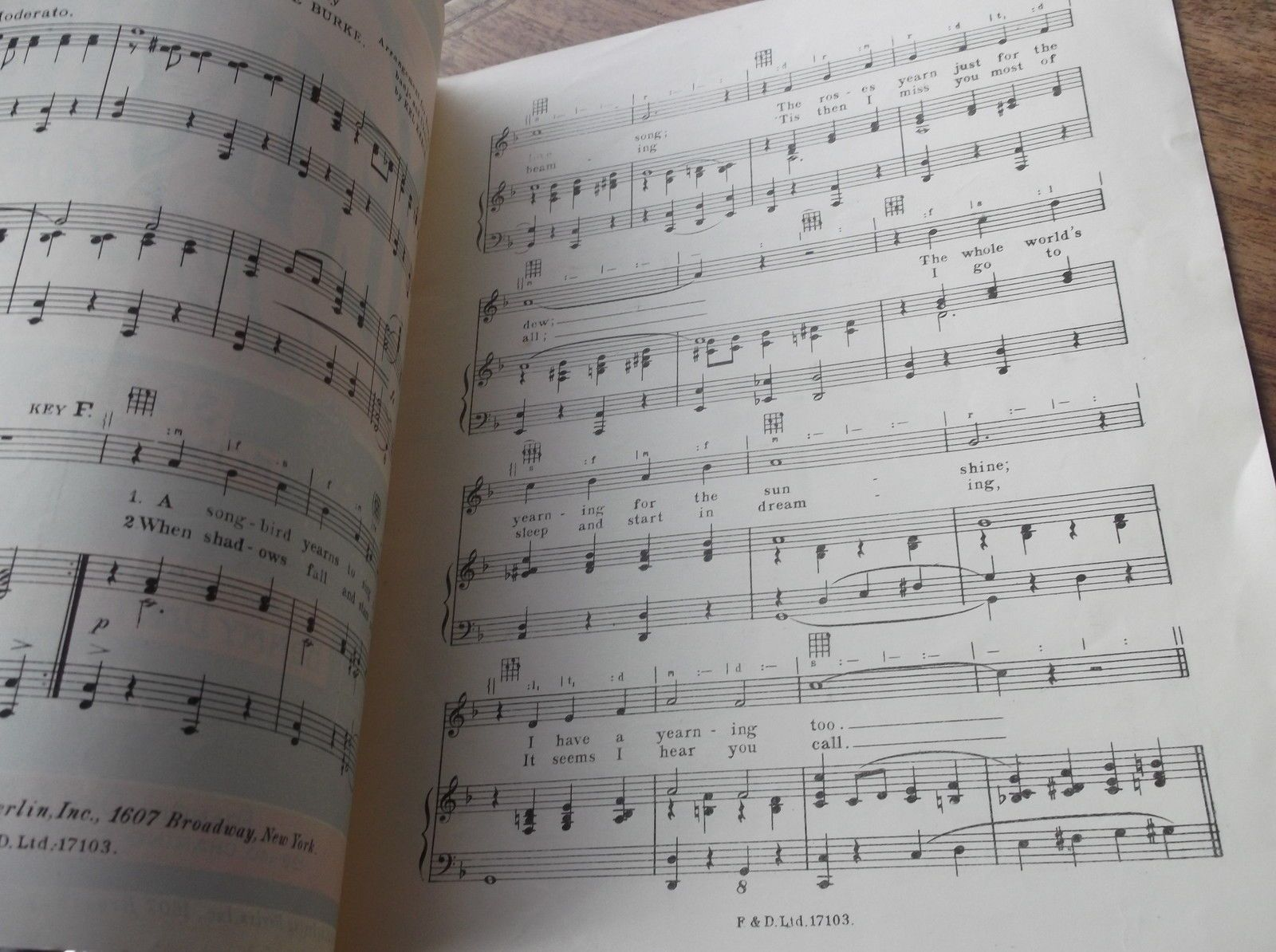 VINTAGE ORIGINAL SHEET MUSIC 1925 YEARNING JUST FOR YOU
